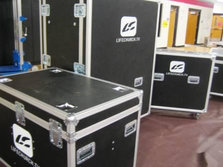 Our new road cases, complete with the LC logo.