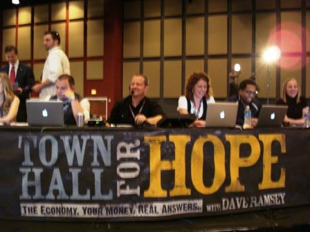Dave Ramsey's team getting prepared to take questions from Facebook, Twitter, etc.